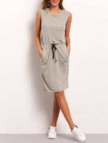 Grey Sleeveless Drawstring Waist Dress