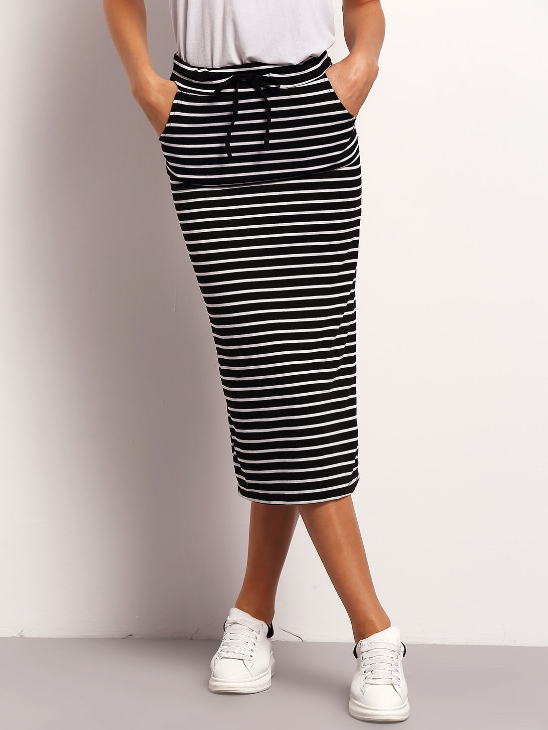 Black White Drawstring Waist Striped Skirt -SheIn(Sheinside)