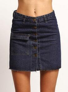 Navy Buttons Slim Denim Skirt