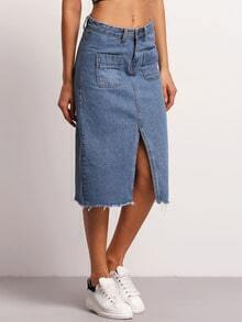 Blue Fringe Split Front Denim Skirt