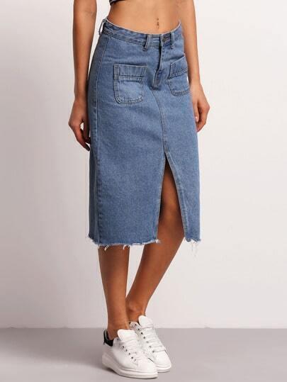blue fringe split front denim skirt shein sheinside