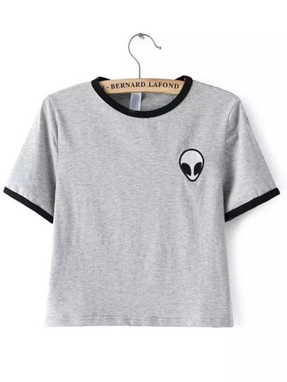 Crew Neck Alien Print Crop T-Shirt