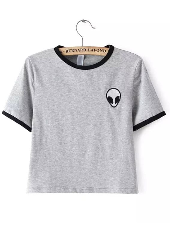 Grey Crew Neck Alien Print Crop T-ShirtGrey Crew Neck Alien Print Crop T-Shirt<br><br>color: Grey<br>size: L,M,S,XL
