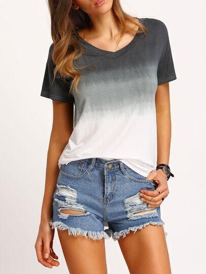 Camiseta cuello V suelta gradiente -gris