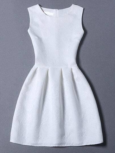 White Crew Neck Sleeveless Slim Flare Dress