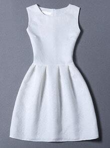 White Crew Neck Sleeveless Slim Flare Dress