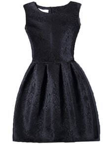 Black Crew Neck Sleeveless Slim Flare Dress