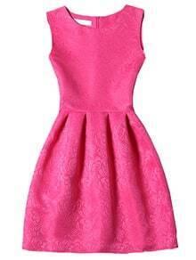 Hot Pink Crew Neck Sleeveless Slim Flare Dress