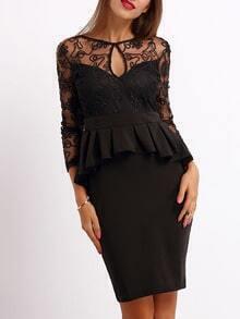 Black Backless Keyhole Ruffle Backless Lace Dress