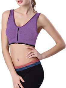 Purple Strap Zipper Sport Tank Top