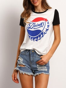 White Short Sleeve Print Casual T-shirt