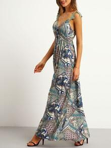 Multicolor Vintage Print Backless Lace Strap Maxi Dress