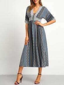 Multicolor Vintage Print Lace Up Maxi Dress