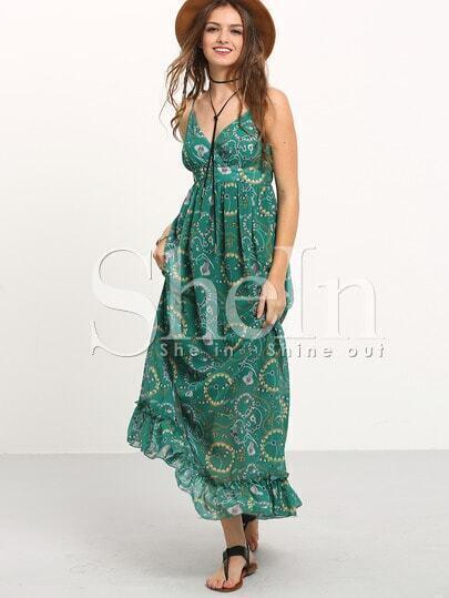 Green Ruffle Hem Print Spaghetti Strap Flare Maxi Dress