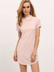 Light Pink Mock Neck Dolphin Hem Shift Dress