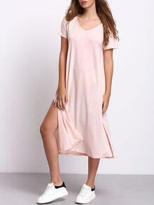 Pink Short Sleeve Split Sides Casual Midi Dress