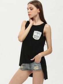 Black Sleeveless Crochet Pocket Dip Hem T-shirt