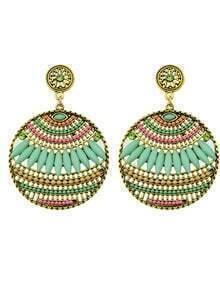 Green Beads Round Stud Earrings