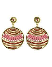 Hotpink Beads Round Stud Earrings