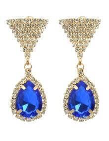 Blue Rhinestone Drop Earrings