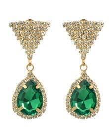 Green Rhinestone Drop Earrings
