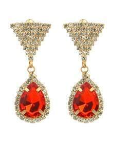 Red Rhinestone Drop Earrings