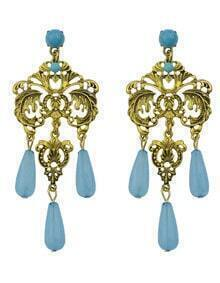Blue Beads Chandeloer Earrings