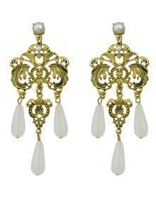 White Beads Chandeloer Earrings