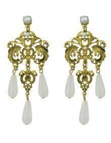 White Beads Chandeloer Earrings