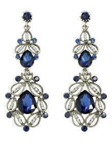 Blue Rhinestone Long Earrings