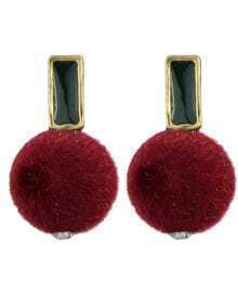 Red Ball Shape Stud Earrings