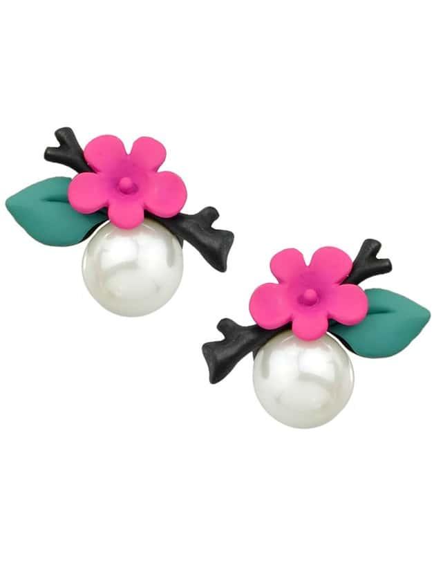 Фото Hotpink Flower Pearl Stud Earrings. Купить с доставкой