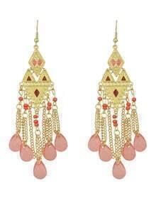 Red Beads Chandelier Earrings