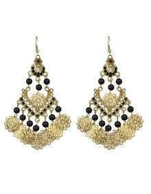 Black Beads Big Chandelier Earrings
