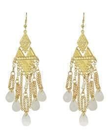 White Beads Chandelier Earrings
