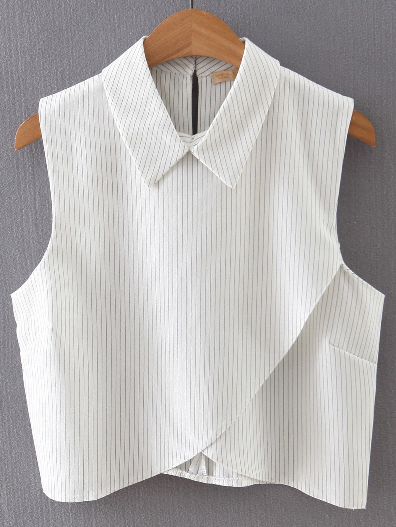 Vertical Striped Wrap White ShirtVertical Striped Wrap White Shirt<br><br>color: White<br>size: L,M,S