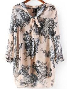Tie Neck Floral Loose Blouse
