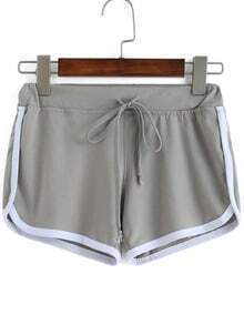 Contrast Draw Cord Waist Grey Shorts