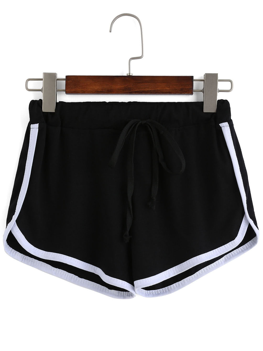 Contrast Draw Cord Waist Black Shorts