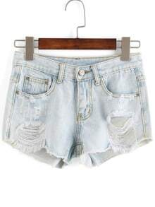 Ripped Pockets Denim Shorts