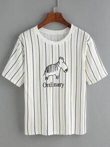 Vertical Striped Dog Print T-Shirt