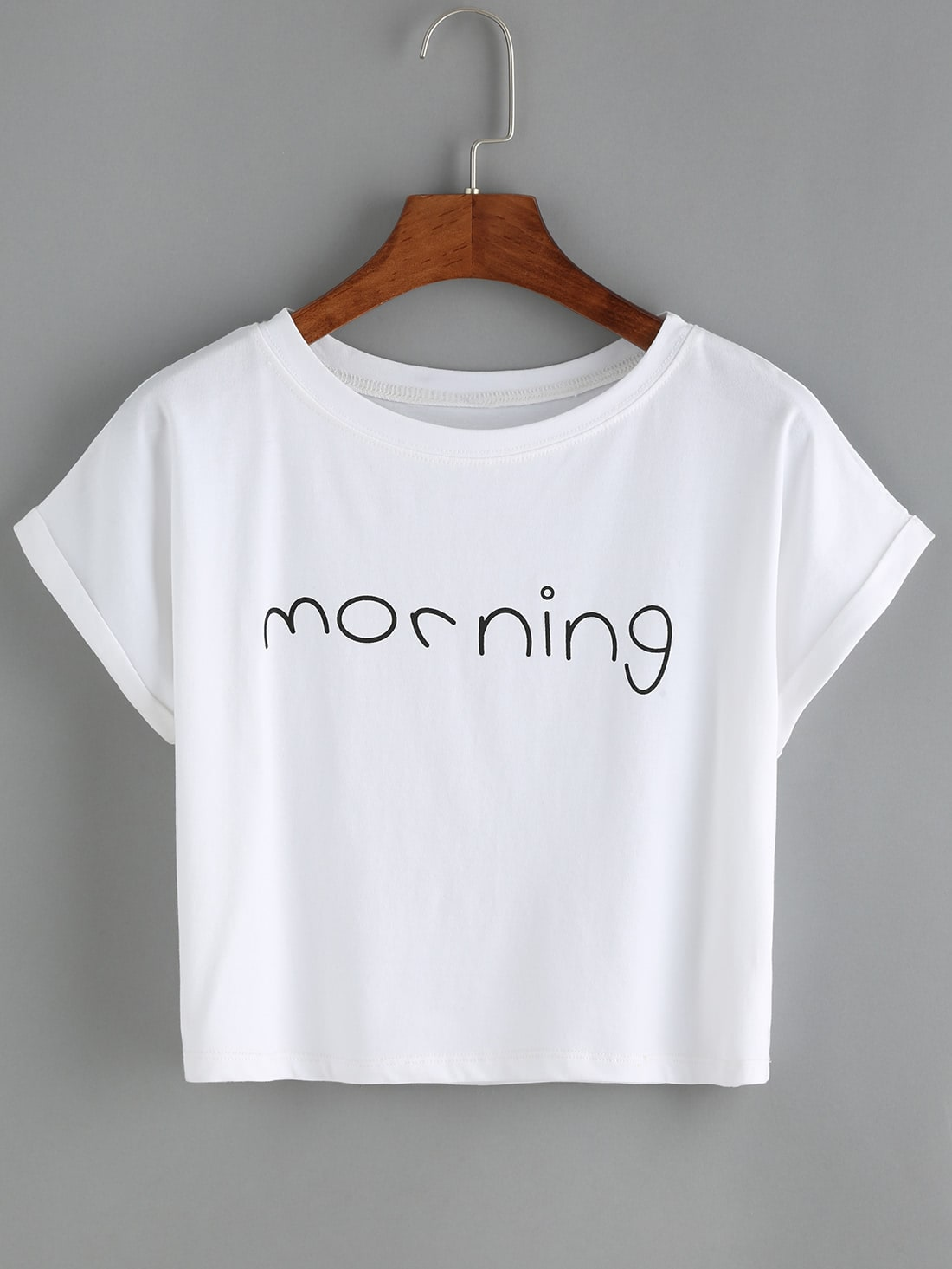 Letters Print Cuffed White T-Shirt