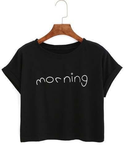 Letters Print Cuffed Black T-Shirt