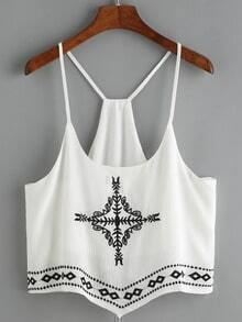 Spaghetti Strap Embroidered Cami Top