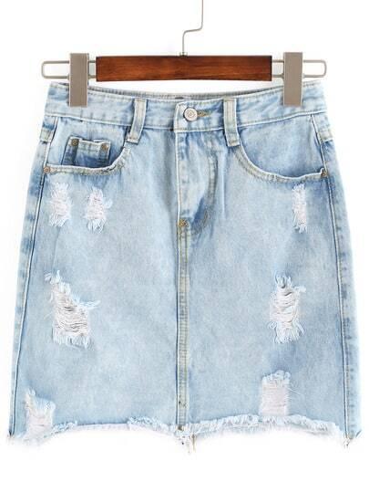 Ripped Pockets Denim Skirt