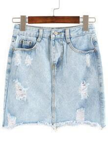 Ripped Pockets Denim Skirt