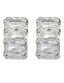 Silver Plated Rhinestone Stud Earrings