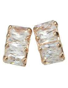 Gold Plated Rhinestone Stud Earrings