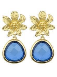 Blue Flower Shape Drop Earrings