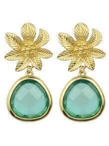 Green Flower Shape Drop Earrings